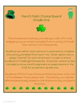 Grade One March/St.Patrick's Day Math Choice Board - 1.OA.1 & 6