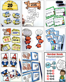 First Grade Full Year Math Bundle 10 Units - Workbooks, Centers Posters, Games