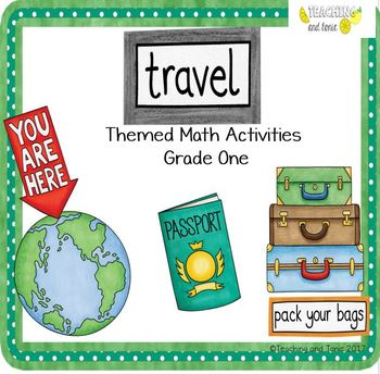 Grade One Math Centers (travel themed)