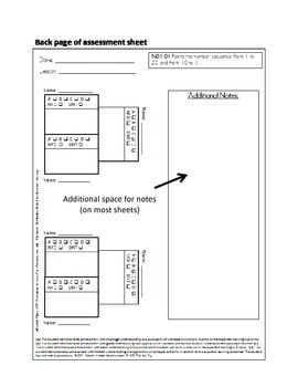 Grade One NS Math Lesson Assessment Sheets