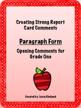 Grade One Report Card Comments- Paragraph Form