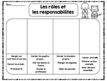 Grade One Social Studies Roles and Responsibilities French