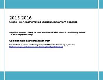 2015-2016 Grade Pre-K Mathematics Curriculum Content Timeline