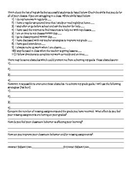 Grade Reflection sheet one class with SMART goals
