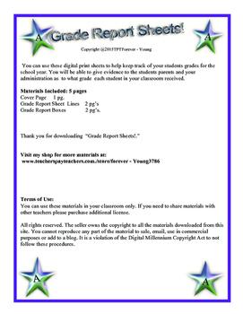 Grade Report Sheets!
