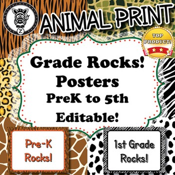 Grade Rocks  - Animal Print - ZisforZebra - Editable!