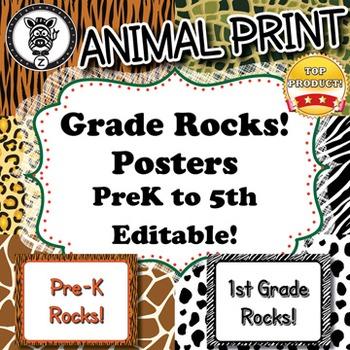 Grade Rocks  - Animal Print - ZisforZebra - Editable!