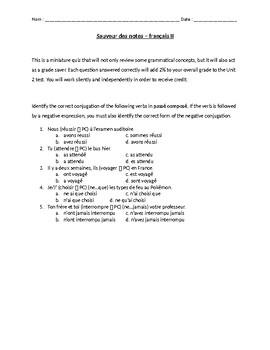 Grade Saver - passé composé avoir and reflexive