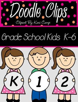Grade School Kids {Clipart}