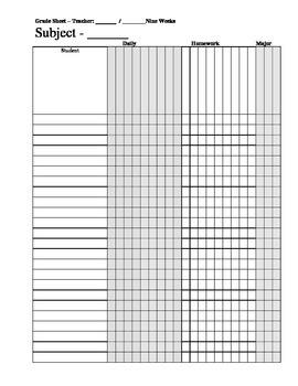 Class Grade Sheet