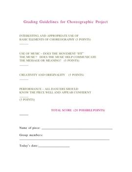 Grade Sheet for Choreography