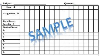 Grade Sheet Printable Template by Leslee Vandernick | TpT