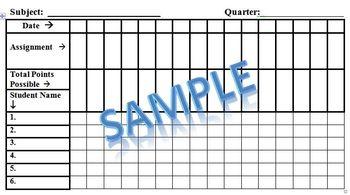 Grade Sheet Printable Template
