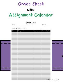 Grade Sheet and Assignment Calendar