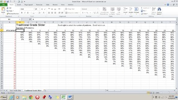 Grade Slider!  (Excel spreadsheet that easily calculates grade percentages)