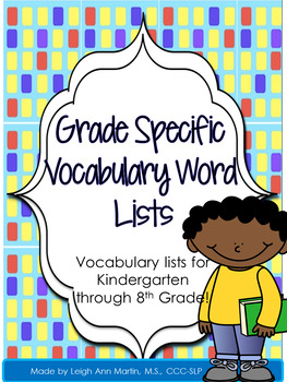 Grade Specific Vocabulary List & Editable Flash Cards