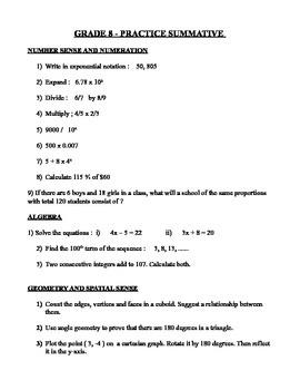 Grade 8 Summative Quiz