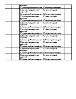 Grade Tacking Form - Individual Class - Self-Assessment Tool