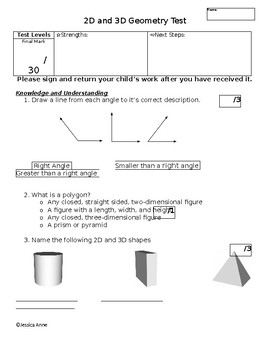 Grade Three 2D and 3D Geometry Test