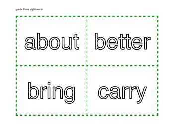 Grade Three Dolch Word List Flash Cards