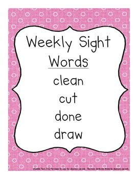 Grade Three Dolch Words Weekly Sight Word Activities