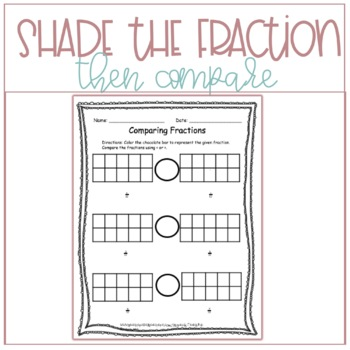Grade Three/Four Math: Comparing Fractions Worksheet 3.NF.A.1, 3.NF.A.3.D.