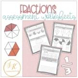 Grade Three/Four Math: Fraction Unit Assessment Worksheets