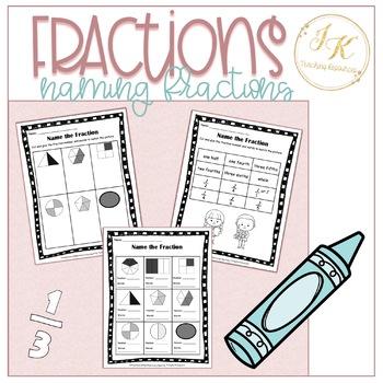 Grade Three Math: Naming Fractions Worksheet 3.NF.A.1 and 3.NF.A.3.B