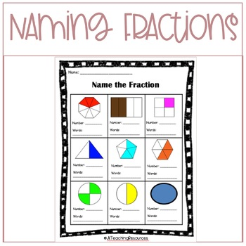 Grade Three Math: Naming Fractions Worksheet 3.NF.A.1 and 3.NF.A.3.B