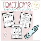 Grade Three Math: Naming Fractions Worksheet 3.NF.A.1 and