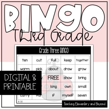 Grade Three Sight Word Bingo {Class Set}