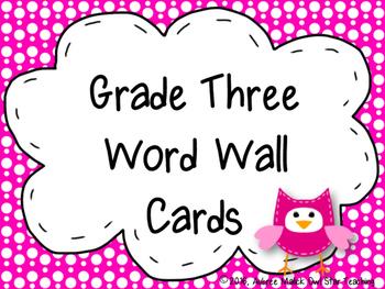 Grade Three Word Wall Cards