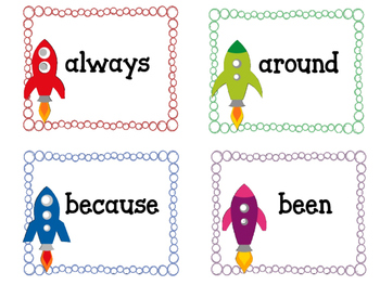 Grade Two Dolch Sight Word Flashcards. Rocket Ship