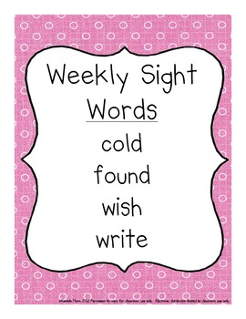 Grade Two Dolch Words Weekly Sight Word Activities