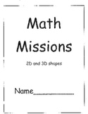 Grade Two Math Problem Solving Missions for 2D and 3D Shapes