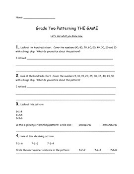 Grade Two Patterning Diagnostic and Summative Tasks