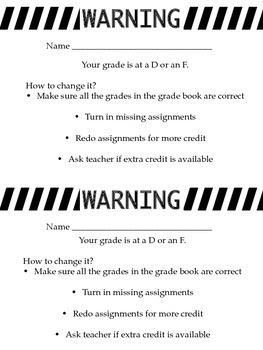 Grade Warning half sheet