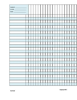 Grade book Page - Neat and Easy - Word Doc
