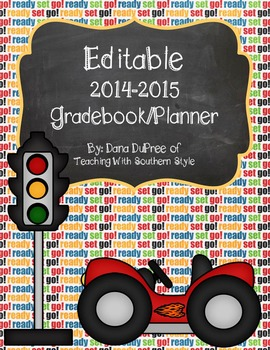 Grade book and Monthly/Weekly Planner Race Car Theme