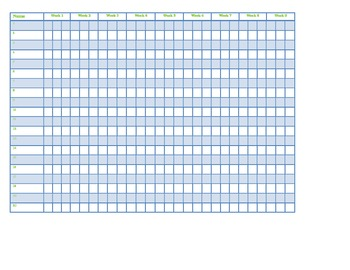 Grade book pages: 9 weeks per page