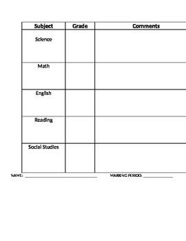Grade sheet/report card