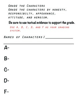 Grade the Characters- Be the teacher for the period.
