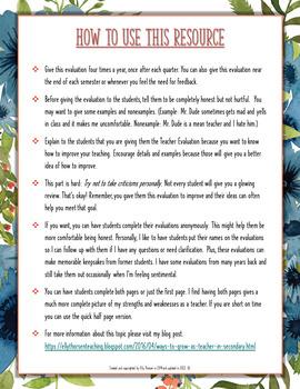 Grade the Teacher: Teacher Evaluation Reflection Tool