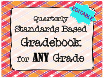 Gradebook EDITABLE Standards Based ANY Grade