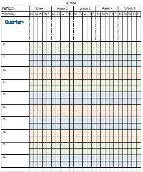 Planner and Gradebook-Great for a Teacher's Notebook/Binder