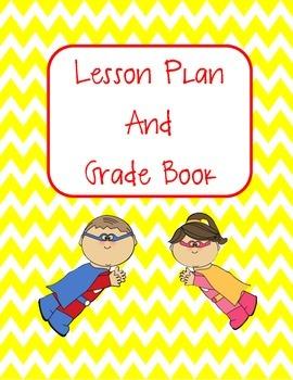 Lesson Plan Book and Gradebook- Super Hero Theme