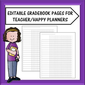 Teacher Planner/Happy Planner - Gradebook Sheets