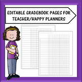 Editable Teacher Planner Gradebook Sheets
