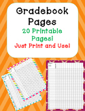 Gradebook or Record Book Pages Printables