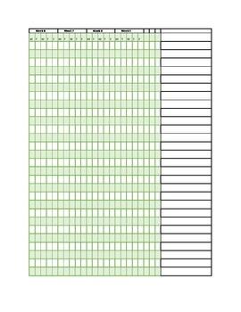 Gradebook printable for 9-week period